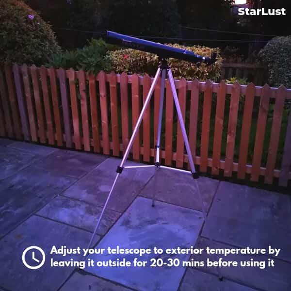 adjusting a telescope's temperature before observing Jupiter