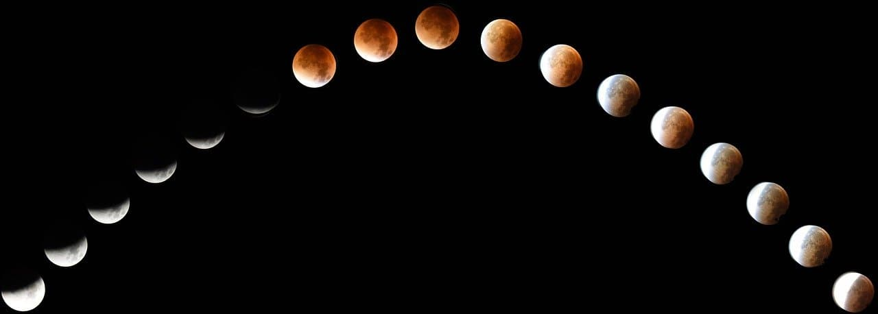 a timelapse of a total lunar eclipse