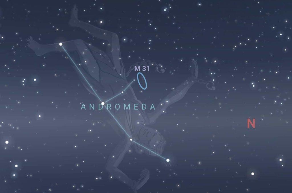 The andromeda galaxy location