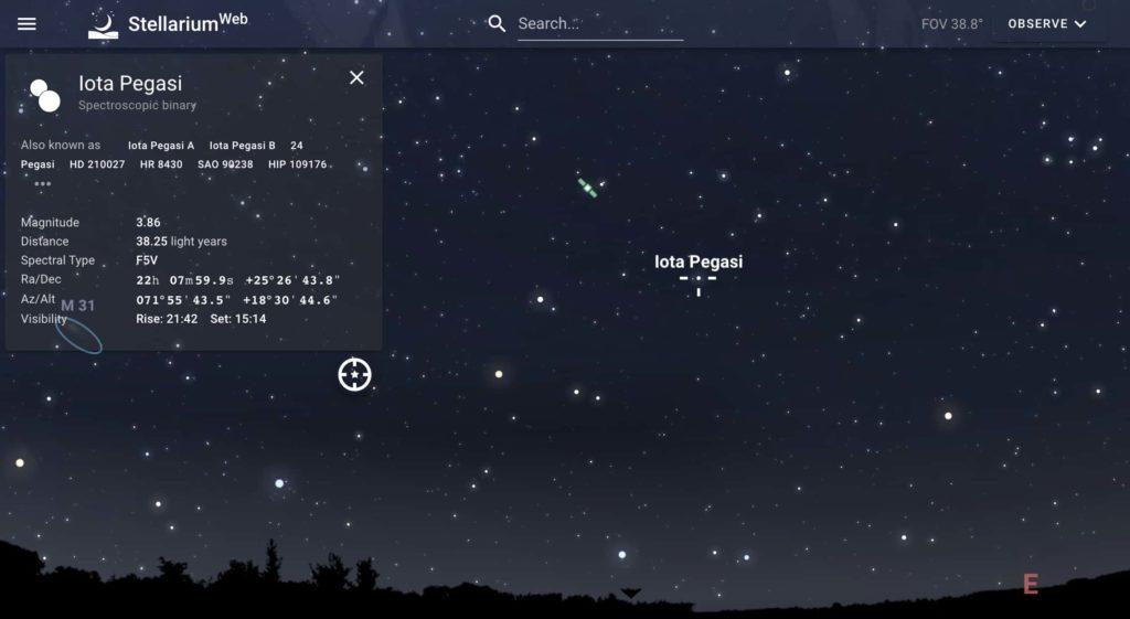 stellarium star location