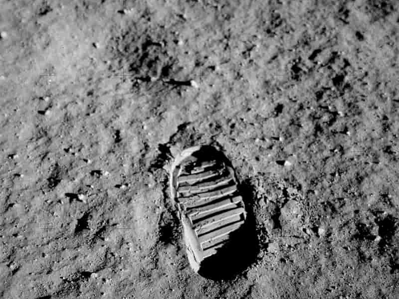 Astronauts footprint in lunar soil