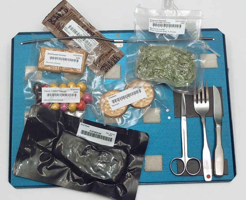 astronaut meal on a tray