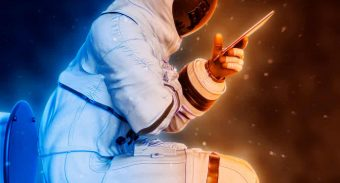 astronaut sitting on a toilet